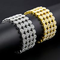 Wholesale Bing Plate - Hip Hop Bracelets & Bangles Gold tone Clear Cz Iced Out 4 Row Bing Bing Men's Bracelet Vintage Charm Bracelet