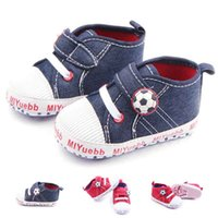 New Arrival Baby Sport Shoes Football Design Canvas Upper Hookloop et White Lace Soft Wholesale