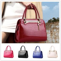 Wholesale thread crochet pattern - Brand new style of bright patent leather stone pattern upscale atmosphere women Shoulder Messenger Handbag BAG143