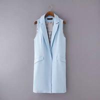 ingrosso giacche lunghe-Gilet lungo senza maniche da donna, gilet girocollo a 4 colori da donna Colletto aperto gilet elegante, giacche invernali da autunnale Chalecos