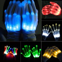 Wholesale Glove Light Finger - LED Gloves Flashing Light Up Dance Fashion Cool Rave Party Fun Multi-Color Halloween white led gloves