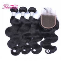 Wholesale Peruvian Hair Natural Wave - 9A Human Hair Bundles With Lace Closure Best Quality Brazilian Virgin Hair 3 Bundles With Closure And Baby Hair Body Wave With Closure