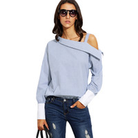 Womens Tops Ladies Blue Striped Fold Over Asymmetric Shoulder Long Sleeve Contraste Cuff Fashion Autumn Blouse