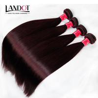 Wholesale 24 Human Red Hair - Burgundy Wine Red Color 99J Brazilian Virgin Hair Weave Bundles Peruvian Malaysian Indian Silky Straight Virgin Remy Human Hair Extensions