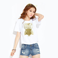 Wholesale Women T Shirt Owl Xl - 3 Colors Fashion 2016 Lovely Owl Animal Print Summer T Shirt Women O-Neck Short Sleeve Blouses High Quality Casual Sports Tank Tops