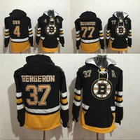 Wholesale rays hoodie - 2017 New Mens Boston Bruins #4 Bobby Orr 37 Patrice Bergeron 77 Ray Bourque Black Hooded Pullover Stitched Sweatshirt Hockey Hoodie stitched