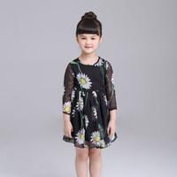 europa kinder mädchen herbst kleidung großhandel-Sommer-Herbst-Europa-Mädchen-Gänseblümchen-Chiffon- Kleid scherzt Blumen-Druck-beiläufiges Kleid Childre-beiläufige Kleider Kind-Mädchen-Kleidungs-Schwarzes 12105