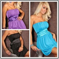 Wholesale Low Cut Club Tops - New Sexy Lady Women's Low Cut Boob Tube Top Striped Package Hip Mini Dress Candy Color Club Wear M XXL