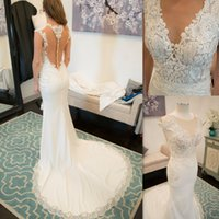 Wholesale Deep Illusion - Elegant Mermaid Wedding Dress 2017 Illusion Tulle Back Deep V Neck Lace Appliques Bridal Dresses Trumpet Chiffon Gothic Brides Gown