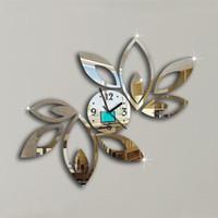 Antique Silver Wall Clock For Sale   Wholesale  Silver Black Big Flower  Quartz Acrylic Mirror