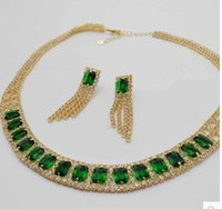 Wholesale Earings Color Diamond - green*blue color diamond crystal pady's set necklace earings hff