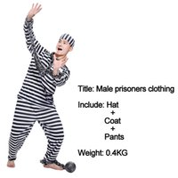 Wholesale Adult Holiday Costumes - Free Shipping Halloween Clothes Adult Prisoners Role Playing Violent Prisoner Black And White Men And Women Masquerade Costumes