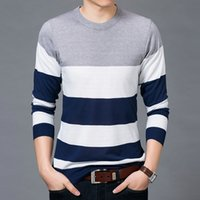 Wholesale Scoop Neck Tshirt - Men Fashion stripe knitted longsleeve Tshirt 2017 autumn high quality Man outwear o neck top tees Men clothes