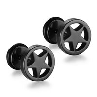 New Fashion Titanium Steel Ear Bone Punk Style Men Preto redondo Sar Stud Earrings 5 ​​cores