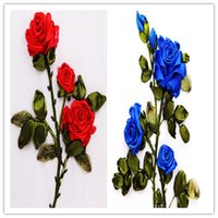 Wholesale unfinished embroidery - Hot Sales Rose Ribbon Cross Stitch 3D Handmade Home Decor Needlework Craft DIY Unfinished Floral Embroidery Kits Set Red Blue Colors