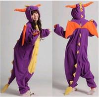 Wholesale Spyro Dragon Costume - Wholesale- Winter Unisex All In One Pajamas Homewear Pyjama Halloween Costumes Pajama Sets Spyro Purple Dragon Pyjama Sets Flannel Oneises