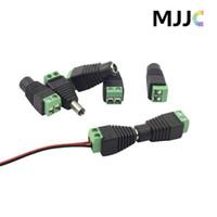 dc erkek toptan satış-20 ADET X LED-to-DC Güç Adaptörü Erkek Kadın Presleme için Tel Bağlayıcı 2 P 3528 5050 LED Şerit Işık