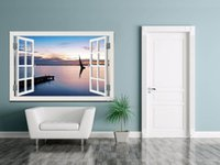 Wholesale Boat Television - Sailing Boat on the Sea High Quality 3D Removable Wall Sticker Wall Art Seascape Creative Window View Home Decor