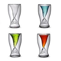 Wholesale cups whisky - Beautiful Mermaid Wine Glass Mermaid Tail Cocktail Glass Double Wall Wine Beer Whisky Coffee Cup Glassware Bar Tools 100ml