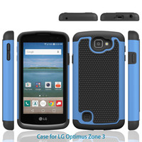 Wholesale Lg Optimus Black Covers - Defender Rugged Armor Cell Phone Protection Hybrid Case For VS425PP LG Optimus Zone 3 Skin Cover Skin Shockproof
