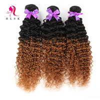 Wholesale Kinky Curly Ombre Hair Dye - HLSK Hair Products 7a Brazilian Kinky Curly Virgin Hair 1b 30 3pcs lot Ombre Kinly Curly Hair Extensions Free Shipping WOK001