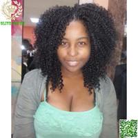peruca cheia do cabelo do unprocess do laço venda por atacado-Cabelo brasileiro Peruca Dianteira Do Laço Kinky Curly Do Cabelo Humano Perucas Cheias Do Laço Unprocess Cabelo Afro Kinky Curl Glueless Peruca Do Laço