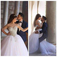 Wholesale Crystals Drop Waist Wedding Dresses - 2018 Luxury Major Beading Wedding Dresses Sheer Illusion Half Sleeves Basque Waist Ball Gown Glitter Bridal Gown Lace Up Back