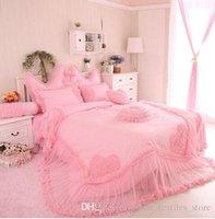 Wholesale Set Princess Skirt - Luxury Korean Style Duvet cover bedding set for girls Lace bed skirts bedding Princess Bedding Set Christmas Gift