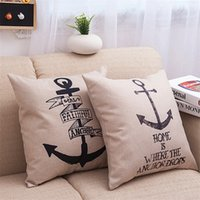 Wholesale Decorative Cotton Linen Square Throw Pillow Case Cushion Cover Throw Pillow Shell Pillowcase Retro Anchor quot X quot
