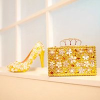Wholesale Gold Bags For Prom - Gold Rhinestone Wedding Shoes Gorgeous Crystal Flower Bridal Dress Shoes with Matching Bag Gift for Wife Party Prom Pumps