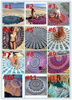 Wholesale Towelling Fabric For Babies - 150CM Round Beach Towel Bohemian Style Chiffon Fabric 150cm Beach Towels Round Printed Serviette Covers for Summer