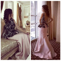 Wholesale Good Ladies Satin Dresses - Good Quality Mermaid Pink Mermaid Evening Dress Black Lace Top Ladies Middle East Dubai Special Occasion Party Gowns Plus Size