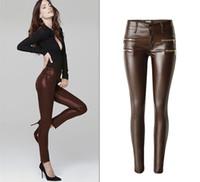 Wholesale Imitation Leather Capris - Low Waist PU Skinny Jeans Women High Quality Fake Zippers Coated Pantalon Femme Washed Coffee Imitation Leather Vaqueros Elastic Trousers