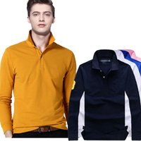Wholesale Funny Polo Shirt - summer new fashion cotton casual long sleeve polo shirt streetwear tops funny brand clothing polo men homme tee