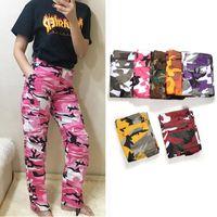 Wholesale cargo bottoms - Hip Hop Camouflage Pants Men Women Fashion Skateboard Pants High Quality Cotton Casual Cargo Trousers Streetwear Club Bottoms BFSH0505