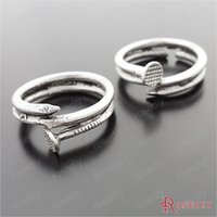 Wholesale Diy Nail Jewelry Accessories - (29597)20PCS inside 18MM,width 5MM Antique Silver Plated Zinc Alloy Nail Shape Rings Diy Jewelry Findings Jewelry Accessories