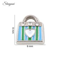Wholesale Wholesale Glass Handbags - Colorful Crystal Handbag with Heart Alloy Floating Charm DIY Floating Locket Charm for Living Memory Glass Locket