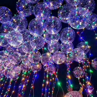 Wholesale Round Led Balloon - DHL ship New bobo ball wave led line string balloon light with battery for Christmas Halloween Wedding Party children home Decoration