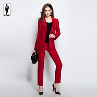 Wholesale Ladies Cotton Office Wears - UR 07 Slim Fit Formal Ladies Office Wear Suit Office Uniform Designs Women Evening Bussiness Trouser Suits Blazer With Pants For Wedding