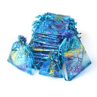 ingrosso borse blu di favore di nozze-Blu Coralline Organza Coulisse sacchetti di imballaggio dei monili Partito Candy Favore di cerimonia nuziale Sacchetti regalo Design puro con doratura 10x15cm