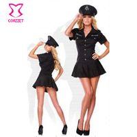 Wholesale Sexy Police Girl Uniform - Wholesale-Sexy Adult Women Dress Policewomen Cosplay Costumes Police Outfit Uniform Sexy Halloween Costume For Women Girls Fashion Clothes