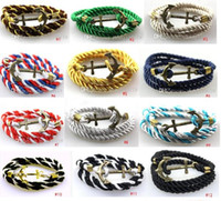 Wholesale Weave Link Bracelet - Wholesale 2016 New Fashion Vintage Jewelry weave Wrap Multi Layer Anchor Bracelet Infinity bracelet Wrap Rope Charm Bangle For Men And Women
