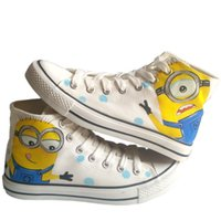 Wholesale Despicable Items - New Arrival Anime Despicable Me Minion Hand Painted Canvas Shoes,Outdoor Leisure Fashion Sneakers,Unisex Casual Shoes Hot Items