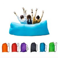 Wholesale Double Bedding Bag - Nylon lazy laybag Fast Inflatable hangout Air Beach Sofa banana sleeping bag Camping Couch Bed Sofa Lounger dormir Ten Seconds