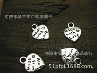 Wholesale Made Love Charms - Hot ! 50 Pcs Mixed Tibetan Silver made with love Faith Jesus Charms Pendants 12x2mm DIY Jewelry