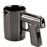 Wholesale Black Wholesale Ceramic Coffee Cups - Pistol Grip Coffee Cups Mug Funny Gun Mug Milk Tea Cup Creative Office Ceramic Coffee Mug Drinkware