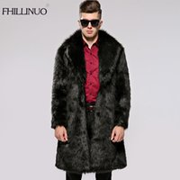 Wholesale Men Full Length Fur Coats - FHILLINUO Men Fur Coat Winter 2017 Plus Size Faux Fur Coat Men Parka Jackets Full Length Leather Overcoats With Collar Fur coats