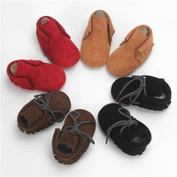 Wholesale Autumn Cashmere Sale - Hot Sale Genuine Cashmere Leather Baby Moccasins Tassels Lace Design First Walking Shoes Soft Sole 20 Colors Infant Toddler Shoes