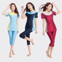 mayo slami kadınlar toptan satış-Müslüman Mayo Kadınlar Kısa Kollu İslam Arap Mayo Olmadan Hijiab Ramazan Yüzme Suit Bikini Ücretsiz Shippping