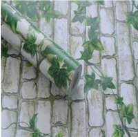 Wholesale Wholesale Grain Europe - PVC sticky wallpaper wallpaper from Boston ivy brick grain vine leaf of lang Chinese trumpet creeper rural living room-55